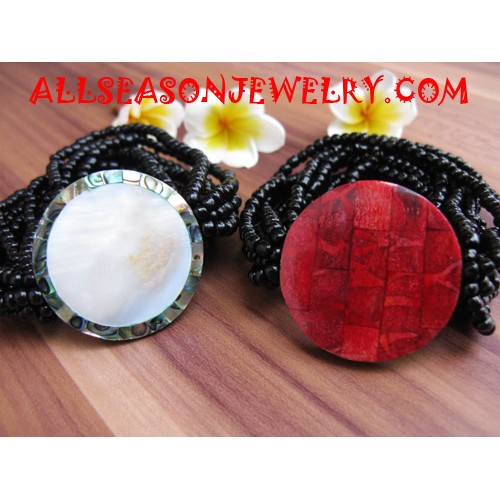 Stretch Bead Shell Bracelet