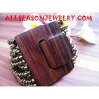 Wood Buckle Bead Bracelet