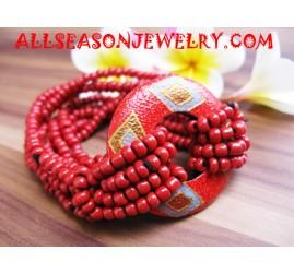 Wood Painted Bead Bracelet