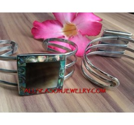 Abalone Cuff Bracelet Stainless