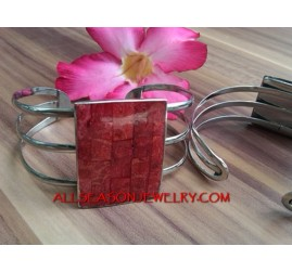 Red Coral Stainless Cuff