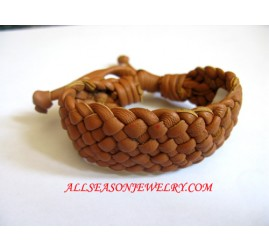 Orange Leather Bracelet