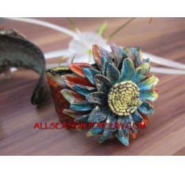 Bali Leather Bracelet Flower