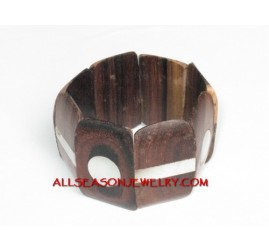 Chunky Wood Shell Bracelet