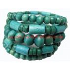 Turquoise Bead Wood Bracelet