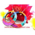 Women Wooden Earrings Hand Painting
