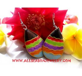 Painting Wooden Earrings Handmade