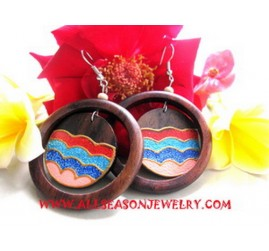 Wooden Earring Hand Painting Design