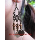 Beaded Wood Earrings