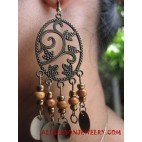 Beaded Wooden Earrings