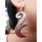 Coconuts Carved Earring