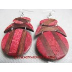 Earring Red Coral Wood