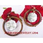 Earrings Seashell Wooden