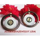 Earrings Wooden Shell