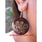 Flower Wood Earrings Hand Painting