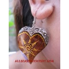 Heart Earring Wooden Hand Painting