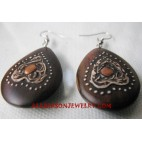 Natural Wood Earring Painted