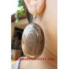 Oval Wooden Earring