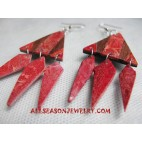 Red Stone Earring Wooden