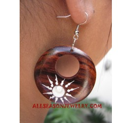 Women Earring Wooden Natural with Shells
