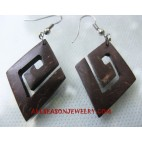Wood Earrings Coconut
