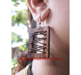 Wooden Leather Earring