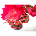 Resin Red Coral Earring
