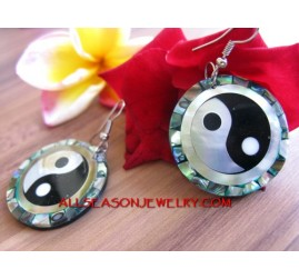 Ying Yang Chinese Motif Earring Fashion Seashells