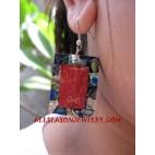 Paua Shell Red Earring