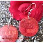 Red Coral Earrings Seashell Handmade