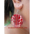 Red Coral Shell Earring