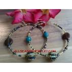 Glass Beads Earrings Hoop