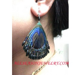 Beaded Feather Earrings