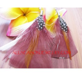 Brown Feather Earring