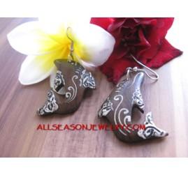 dolphin wooden earrings