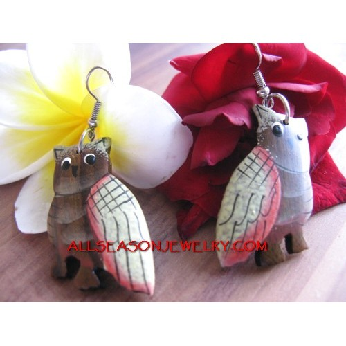 Owl Wooden Painted Ear