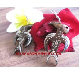 Bali Earrings Carved Wood