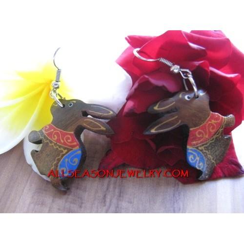 Earring Rabbit Carving