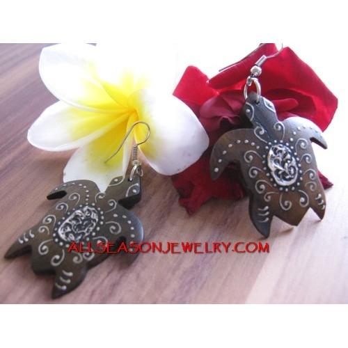 Turtle Wooden Earrings