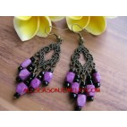 Purple Beads Earring Fashion