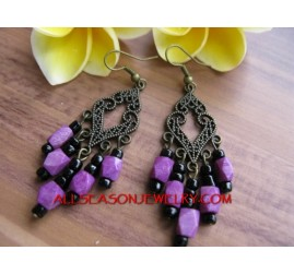 Purple Beads Earring Fashion