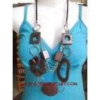 Solid Color Necklace Wood