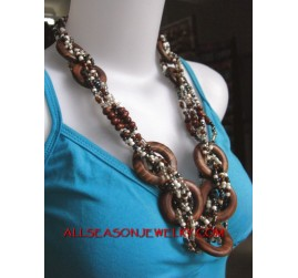 Wire Beaded Wood necklace