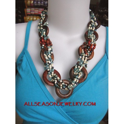 Wired Wooden Necklaces Bead