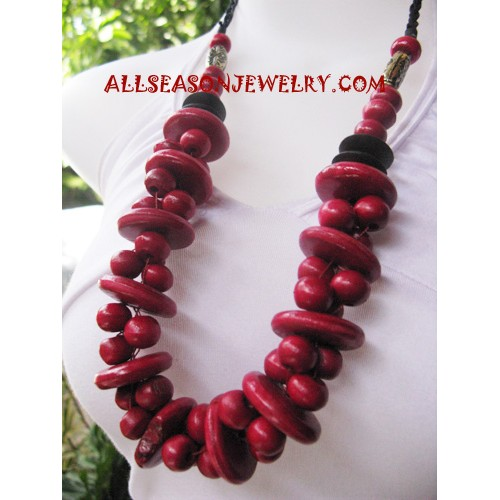 Mahogany Necklace Wooden