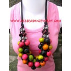 Mixed Color Wood Necklace