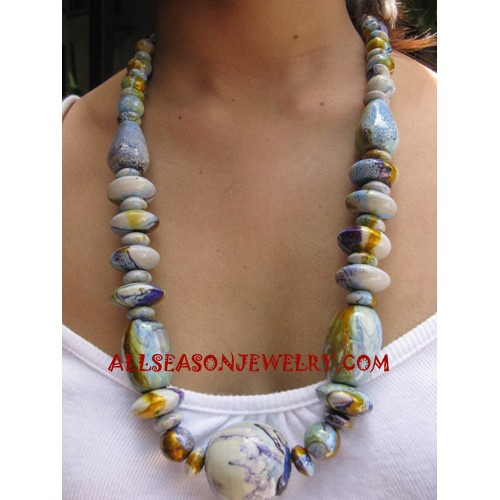 Painting Necklace Wooden