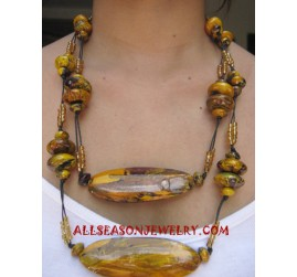 Painting Wood Necklace