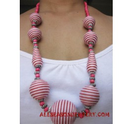 Strip Colored Wooden Necklace
