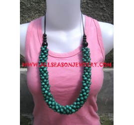 Teak Necklace Painted